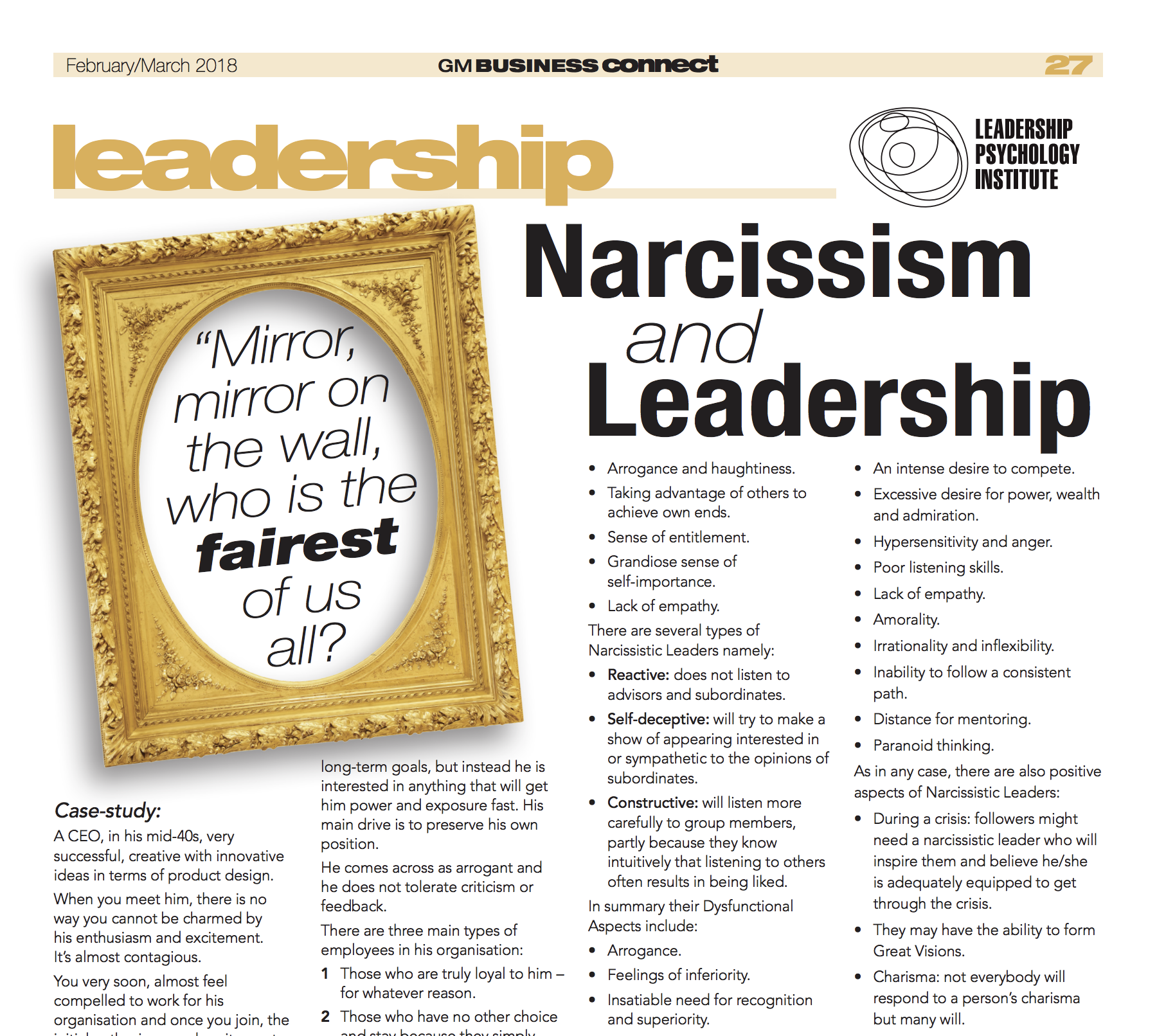 leadership psychology institute | Narcissism and Leadership